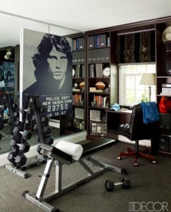 Sandra Lee and Andrew Cuomos Gym via Elle Decor