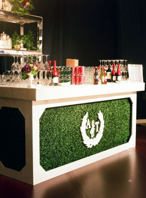 Boxwood Bar with Wedding Monogram