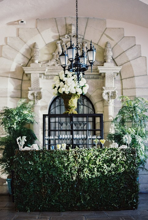 Boxwood Covered Bar for a Palm Beach Wedding via Brides