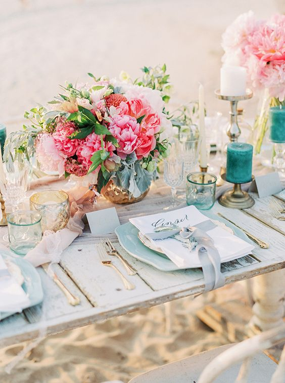 Feminine Tablescape via Hey Wedding Lady