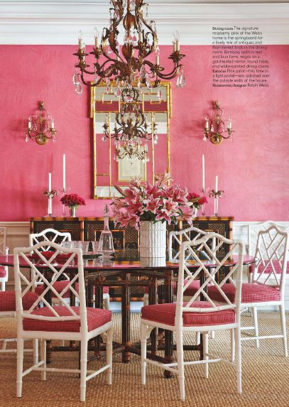 Pink Dining Room Via Traditional Home
