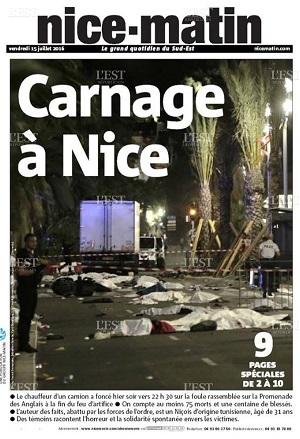 Nice Matin, Une du 15/07/2016 - ThePrairie.fr !
