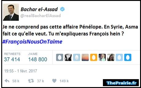 Bachar el-Assad soutient François Fillon - ThePrairie.fr !