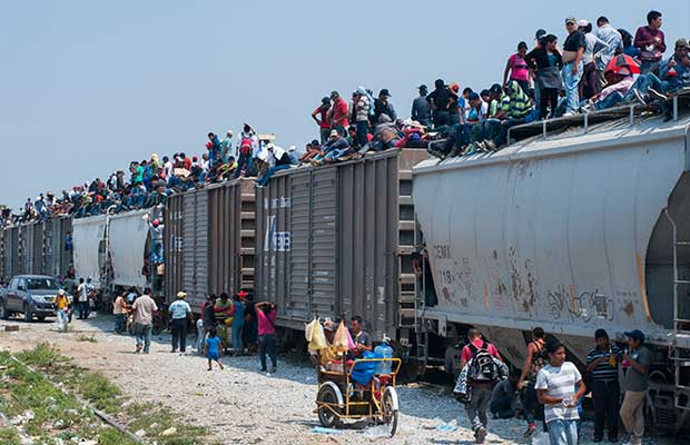 Illegals crossing the border on trains