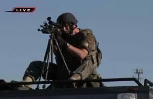 Sniper watching protestors in Ferguson, MO
