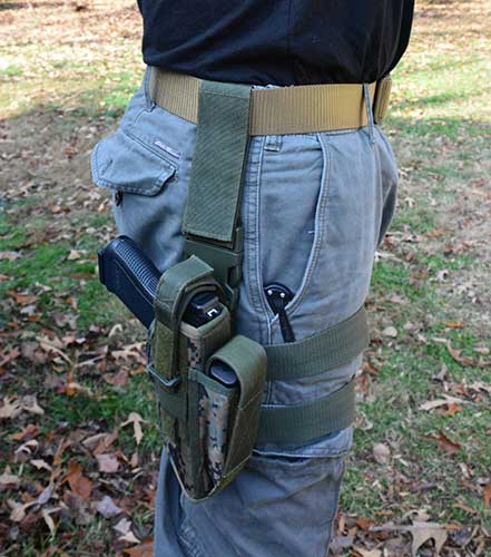 Simple and cheap drop-leg holster.