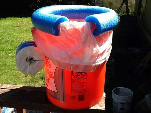 Eliminate the worry of #2 with this simple makeshift toilet.