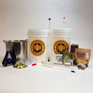 Brew. Share. Enjoy. Homebrew Beer Brewing Starter Kit with Block Party Amber Ale Beer Recipe Kit and Brew Kettle