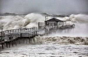 Hurricane Sandy, Ocean Grove Pier -  New Jersey, October 29, 1012 - Photograph by Bob Bowné