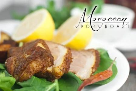 Moroccan Pork Roast with Tangy Coconut Yogurt Sauce - title