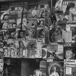 """A newsstand in Athens, Greece, from January 1948 displays English-language magazines, including """"Ten Detective Aces."""""""