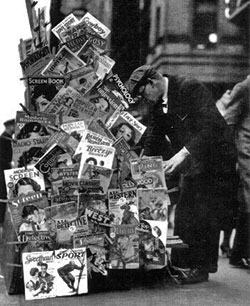 Pulp magazines for sale in New York in November 1932.
