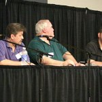 Panelists, from left, John Gunnison, Tom Roberts, Ed Hulse, Rich Harvey and Neil Mechem discuss the impact of pulp reprints on the pulp market Friday evening.
