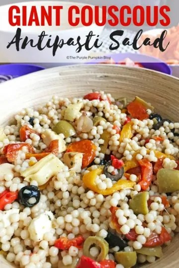 If you need a salad in a hurry, try this Giant Couscous Antipasti Salad - minimal prep required, and a great side dish or meal in itself!