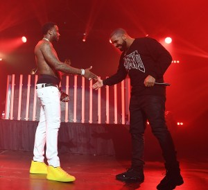 ATLANTA, GA - JULY 22:  Gucci Mane and Drake perform on stage at Gucci and Friends Homecoming Concert at Fox Theatre on July 22, 2016 in Atlanta, Georgia.  (Photo by Paras Griffin/Getty Images for Atlantic Records)
