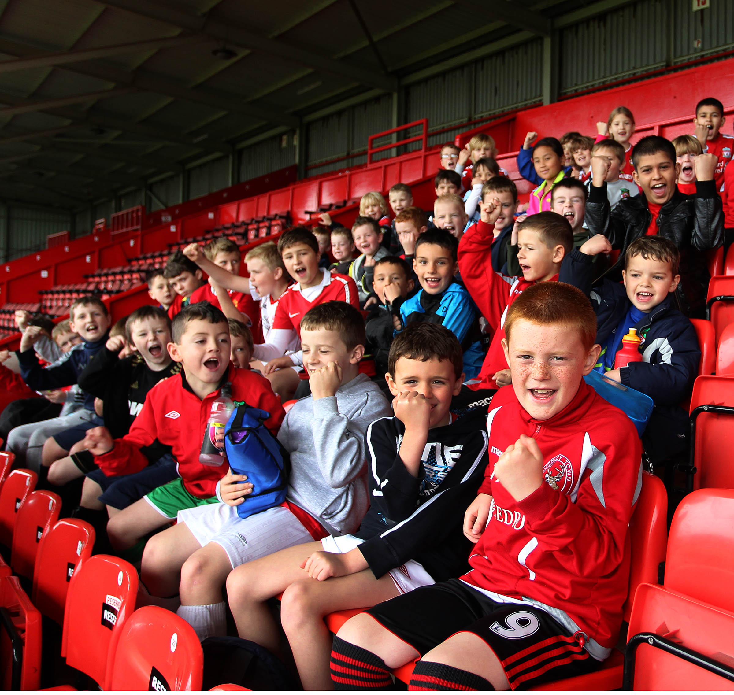 Wrexham Football Foundation as a prt of their holiday training scheme the members met some of the First team players at a question and answer session at the Racecourse