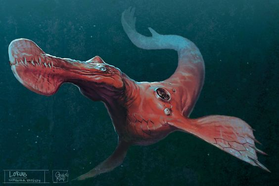 A lorub, a sea monster that looks like it's from the age of dinosaurs with red skin
