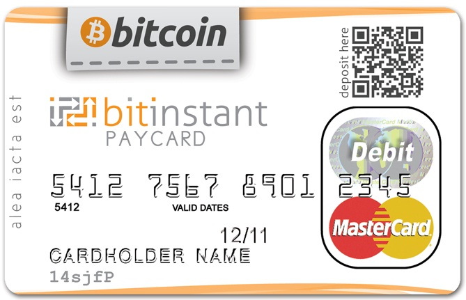 BitInstant PayCard Card Front BitCoin