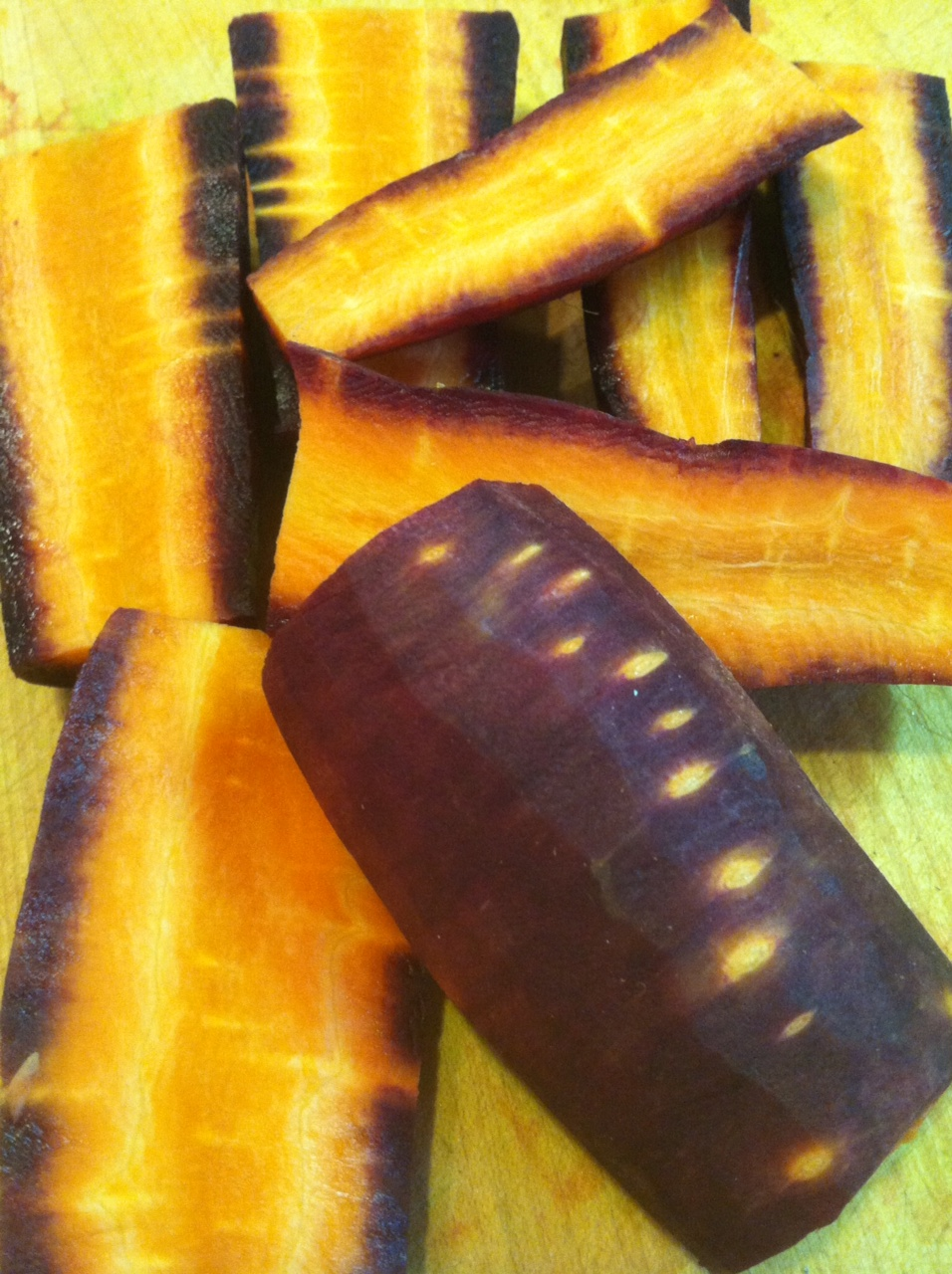 purple carrots cut