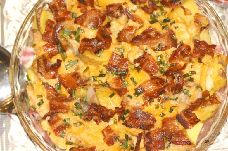 Paleo Cheesy Chicken and Potato Casserole with Bacon