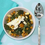 Roasted Broccoli, Kale, Butternut Squash And Crispy Chickpeas With Yogurt Sauce