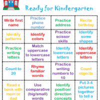 Ready for Kindergarten Bingo