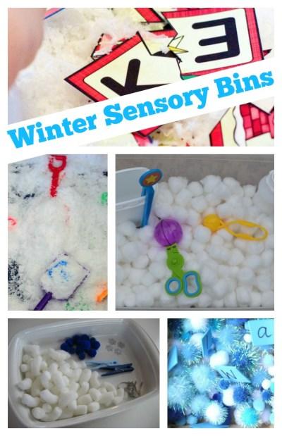 winter sensory bins letters and fine motor
