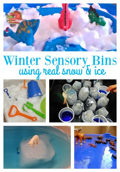 winter sensory play using real snow and ice