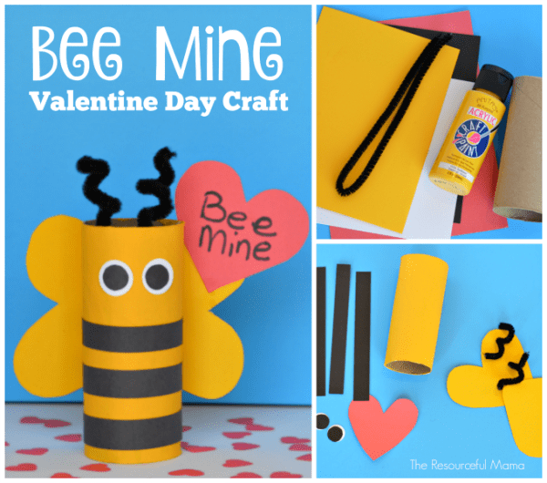 """Toilet paper roll Valentine's Day """"Bee Mine"""" craft for kids; great use for recycled toilet paper rolls"""