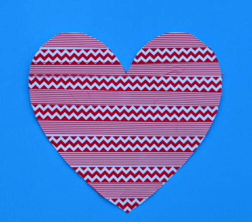 Washi tape heart Valentine's Day craft for kids