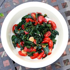 Black Kale with Grape Tomatoes, Garlic and Chilies