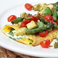 Fresh Herb and Feta Omelette with Warm Avocado, Asparagus and Cherry Tomato Salsa