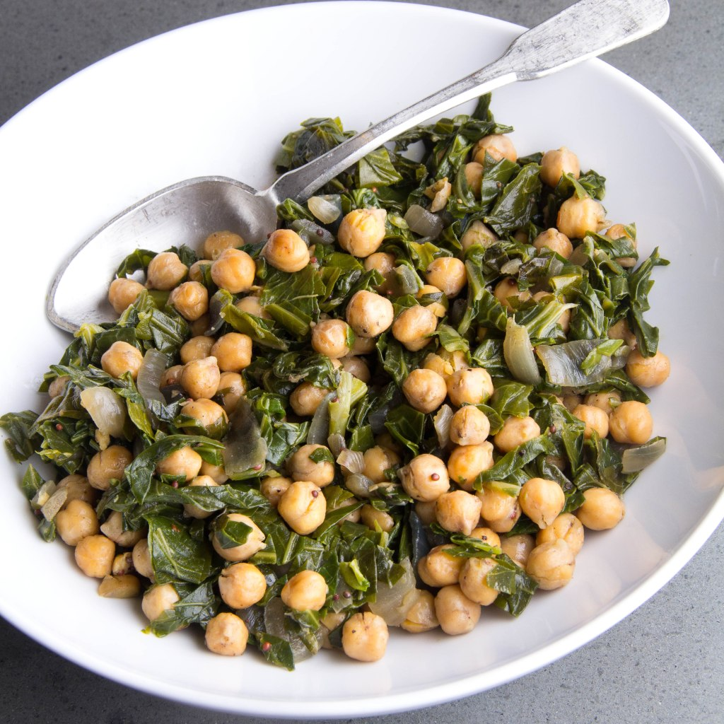 Spice Roasted Chick Peas with Collards