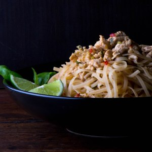 Spicy Rice Noodles with Chicken, Basil and Lime