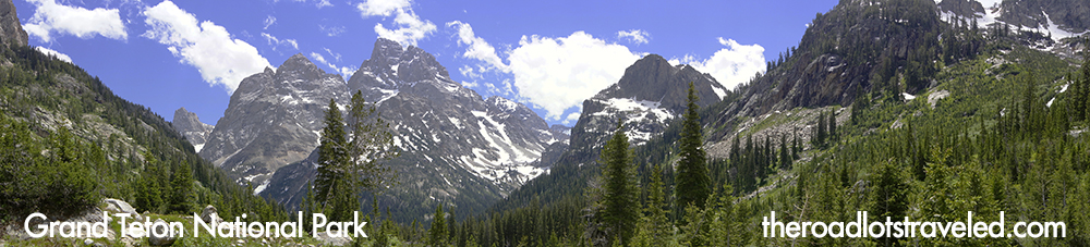 Panorama from inside Cascade Canyon in Grand Teton National Park