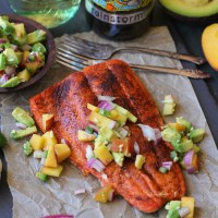 Smoky Broiled Sockeye Salmon with Peach-Avocado Salsa
