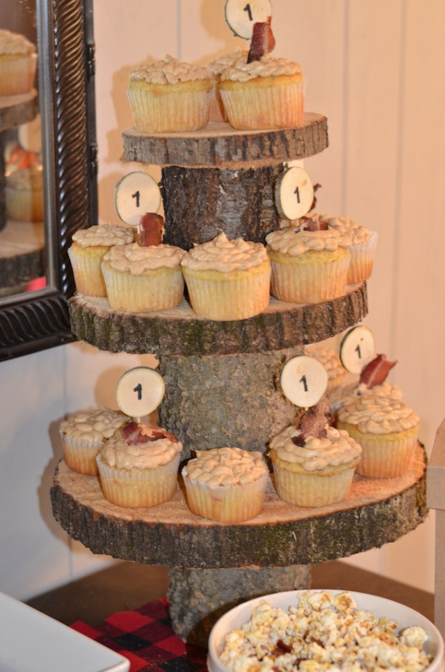 Lumberjack and Woodland Animals Themed First Birthday Party Cupcake Stand