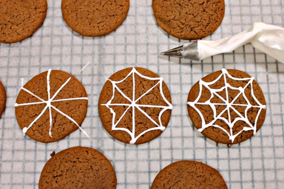 or pipe royal icing webs on plain cookies.