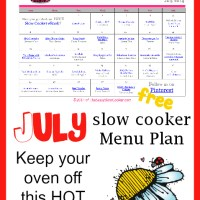 Slow Cooker Family Friendly Menu Plan with Recipe Links - July