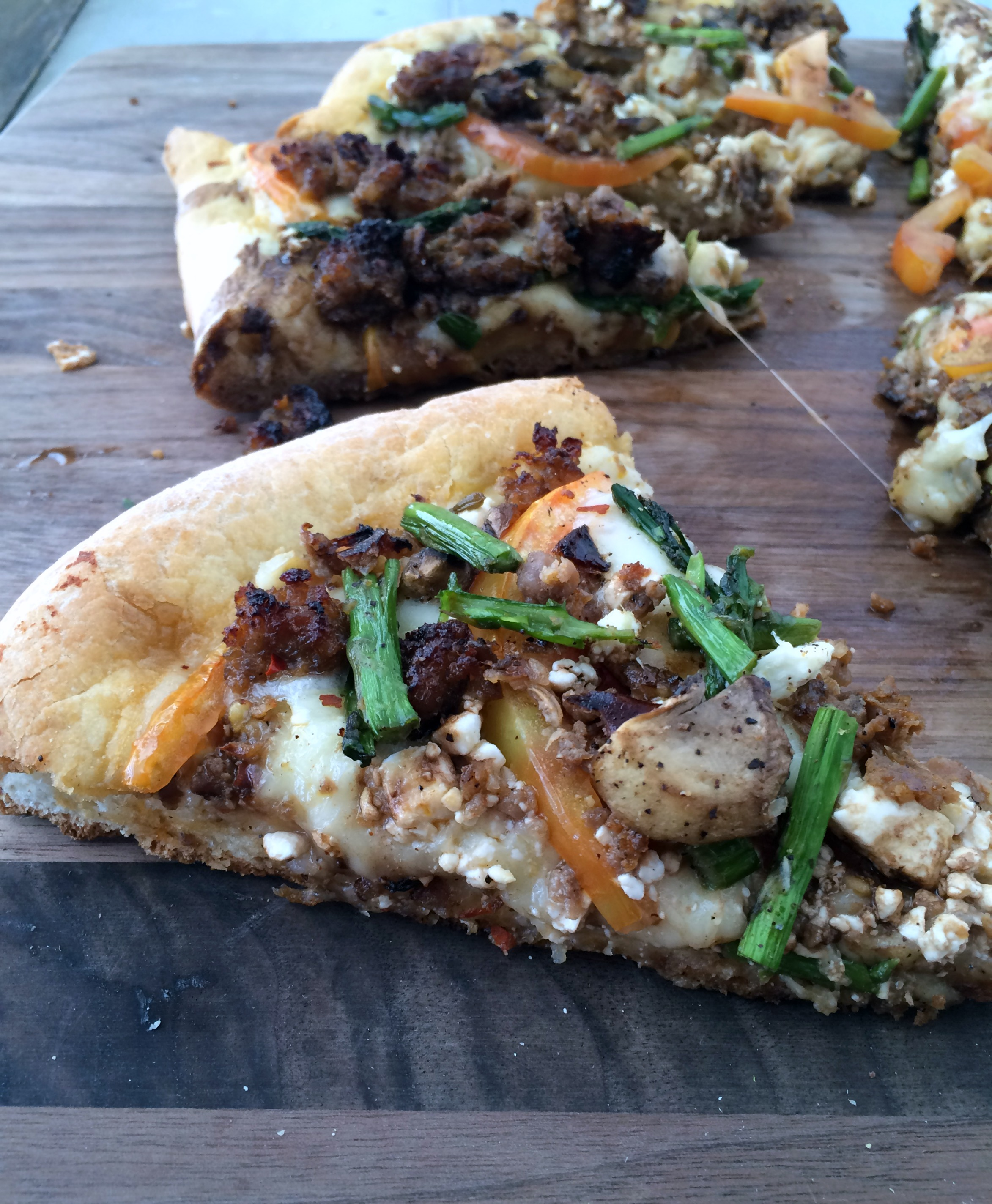 Then I decided this pizza needed a little meat for my mushroom-lovin ...