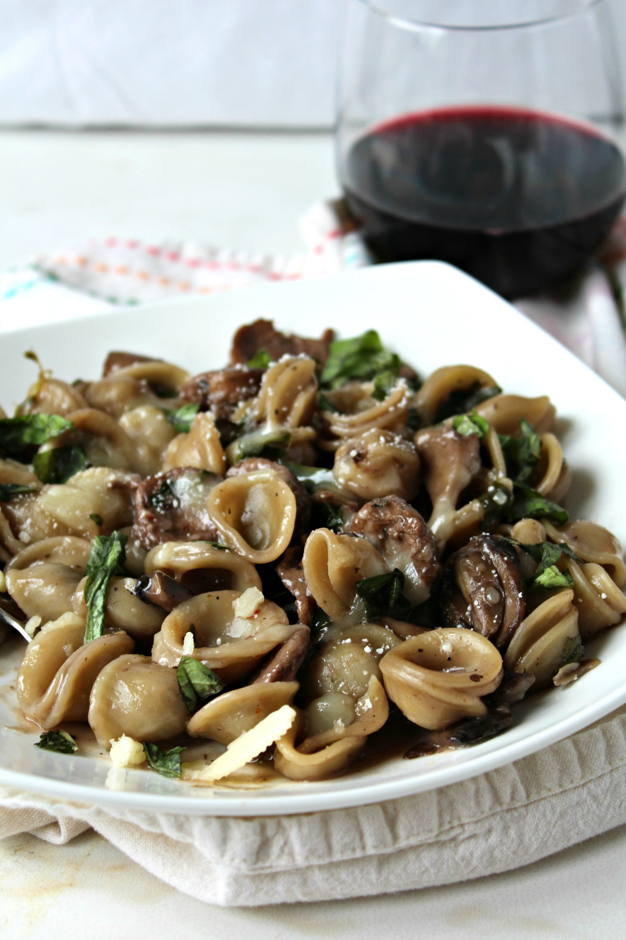 One Pot Pasta with Swiss Chard, Mushrooms and Sausage