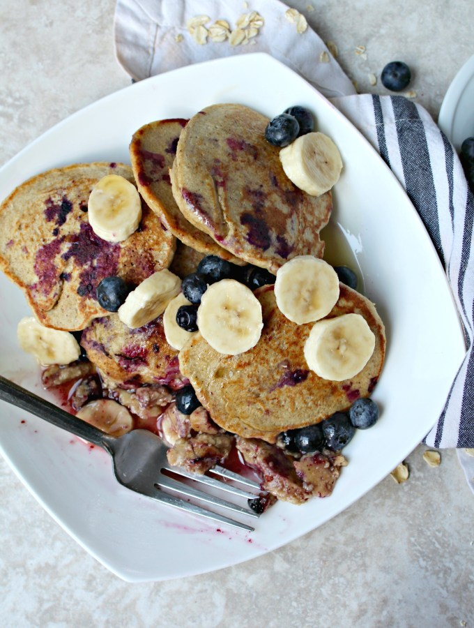 Banana Oat Blueberry Pancakes