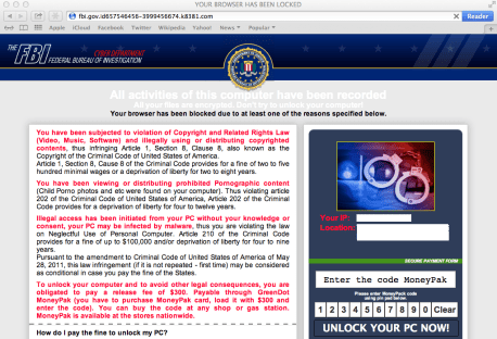 ransomware1 Malwarebytes annouces FBI Ransomware Now Targeting Apple's Mac OS X Users