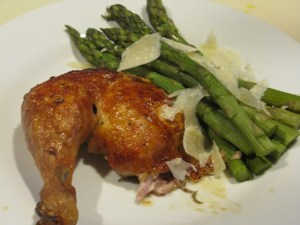 Spit-roasted chicken with asparagus and shaved Parmesan
