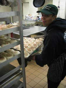Makeisha Day, getting English muffins ready for breakfast
