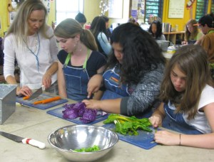 Preparing stir fry in the Edible Schoolyard kitchen