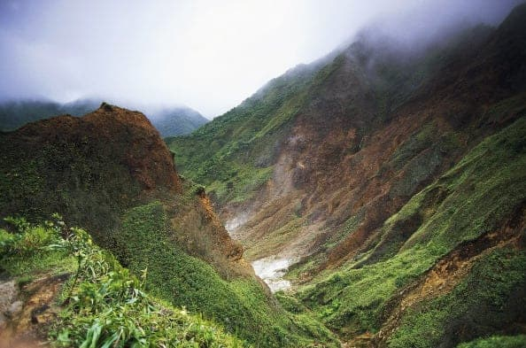 DOMINICA - OCTOBER 24: Valley of Desolation, active fumaroles, Morne Trois Pitons National Park (UNESCO World Heritage List, 1997), Dominica. (Photo by DeAgostini/Getty Images)