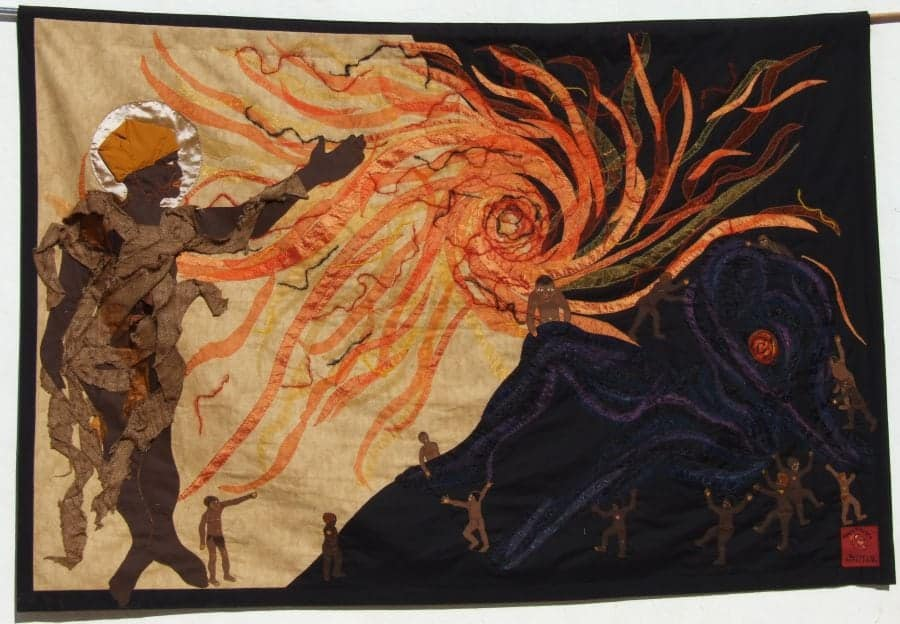 Jeni Couzyn (artistic director), Sandra Sweers (lead artist), The Creation of the Sun, a collaborative piece from Bethesda Arts Centre, textile, 2015, Photo © The Trustees of the British Museum