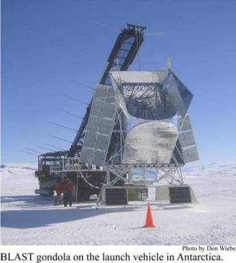 The BLAST instrument on a launch gondola in Antarctica. Image by Done Wiebe. (Click to embiggen.)