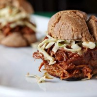 Slow Cooker BBQ Chicken Sandwiches with Mustard Coleslaw